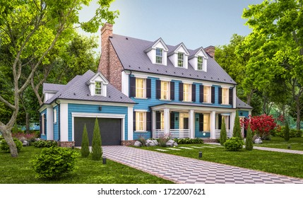3d rendering of modern cozy classic house in colonial style with garage and pool for sale or rent with beautiful landscaping on background. Clear summer evening with cozy light from window