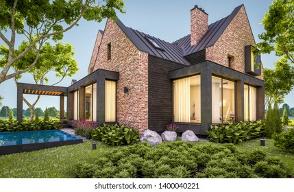 3d rendering of modern cozy clinker house on the ponds with garage and pool for sale or rent with beautiful landscaping on background. Clear summer evening with cozy light from window