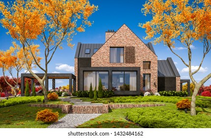 3d rendering of modern cozy clinker house on the ponds with garage and pool for sale or rent with beautiful landscaping on background. Clear sunny autumn day with golden leafs anywhere.