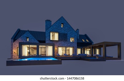 3d rendering of modern cozy clinker house on the ponds with garage and pool for sale or rent in night with cozy light from window. Isolated on gray