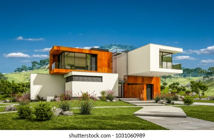 3d rendering of modern cozy house by the river with garage for sale or rent with beautiful mountains on background. Clear sunny summer day with blue sky.