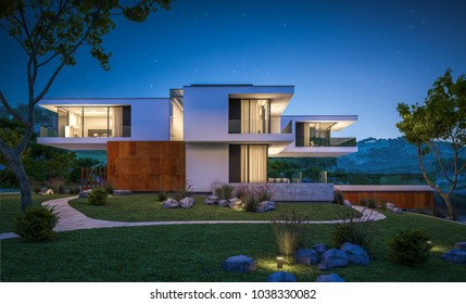 3d rendering of modern cozy house by the river with garage for sale or rent with beautiful mountains on background. Clear summer night with stars on the sky. Cozy warm light from window.