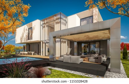 3d rendering of modern cozy house in the garden with garage for sale or rent with beautiful trees on background. Clear sunny autumn day with cloudless sky.