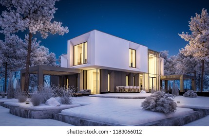 3d rendering of modern cozy house with garage and garden. Cool winter night with cozy warm light from windows. For sale or rent with beautiful white spruce on background.