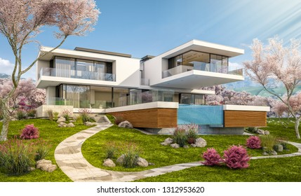 3d Rendering Of Modern Cozy House By The River With Garage. Fresh Spring  Day With