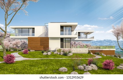 3d rendering of modern cozy house by the river with garage. Fresh spring day with a blooming garden. For sale or rent with flowers of sakura on background.
