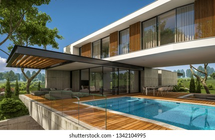 3d rendering of modern cozy house on the hill with garage and pool for sale or rent with beautiful landscaping on background. Clear sunny summer day with blue sky.