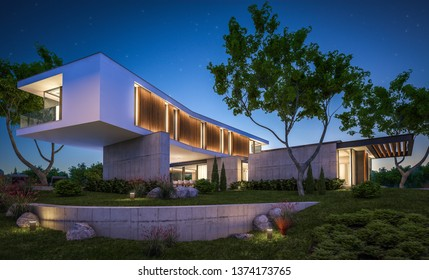 3d rendering of modern cozy house on the hill with garage and pool for sale or rent with beautiful landscaping on background. Clear summer night with many stars on the sky.