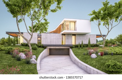 3d rendering of modern cozy house on the hill with garage and pool for sale or rent with beautiful landscaping on background. Clear summer evening with cozy light from window.