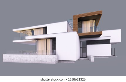3d rendering of modern cozy house by the river with garage and pool for sale or rent in evening with cozy light from window. Isolated on gray