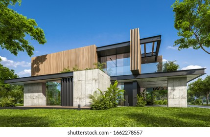 3d rendering of modern cozy house with parking and pool for sale or rent with wood plank facade and beautiful landscaping on background. Clear sunny summer day with blue sky.