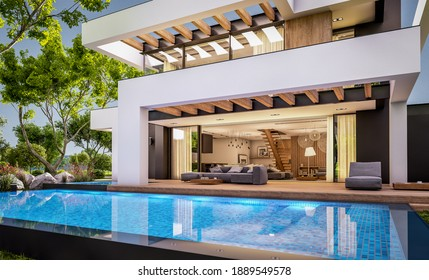 3d rendering of modern cozy house with pool and parking for sale or rent in luxurious style and beautiful landscaping on background. Clear summer evening with cozy light from window