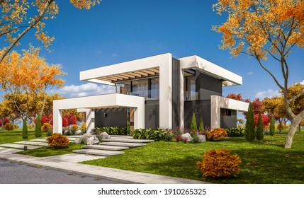 3d rendering of modern cozy house with pool and parking for sale or rent in luxurious style and beautiful landscaping on background. Clear sunny autumn day with golden leaves anywhere