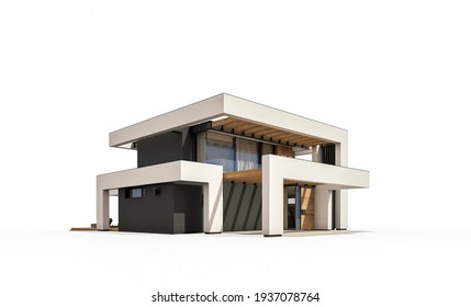 3d rendering of modern cozy house with pool and parking for sale or rent in luxurious style. Isolated on white