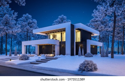 3d rendering of modern cozy house with pool and parking for sale or rent in luxurious style and beautiful landscaping on background. Cool winter night with stars in sky.