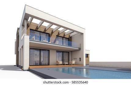 3d rendering of modern cozy house with garage for sale or rent. Isolated on white.