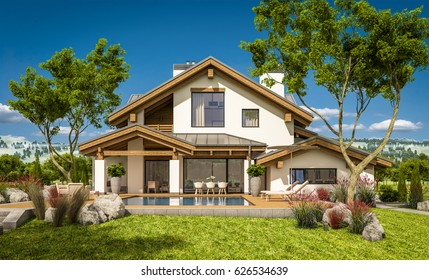 3d rendering of modern cozy house in chalet style with garage for sale or rent with large garden and lawn. Clear sunny summer day with cloudless sky.