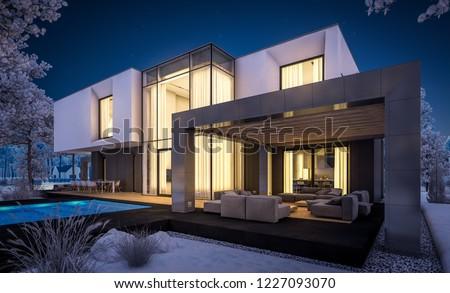 3 D Rendering Modern Cozy House Garage Stock Illustration Royalty