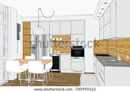 48 D Rendering Modern Creative Kitchen Design Stock Illustration Extraordinary Home Interior Design Kitchen Creative
