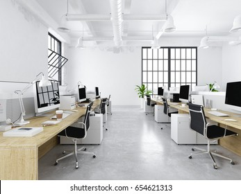 3d rendering. modern creative office with working spaces.