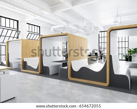 Elegant 3d Rendering. Modern Creative Office With Lounge And Meeting Spaces.