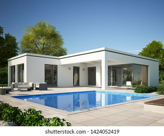 3D rendering of a modern cubic bungalow house
