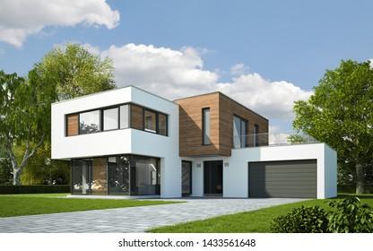 3d rendering of a modern cubic villa