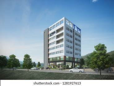 3D rendering of modern day building with road and trees nearby. Illustraion.