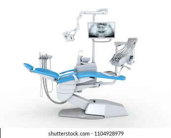 3D rendering modern dental chair on a white background