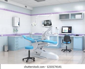 3D rendering modern dentist's office in light colors