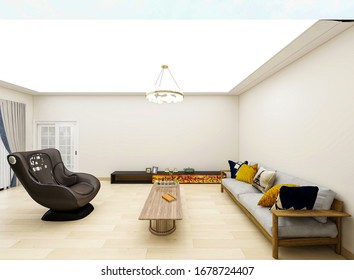 3D rendering, modern design living room with fireplace, sofa, table and other warm equipment