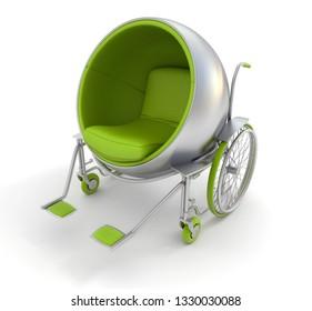 3D rendering of a modern designer wheelchair