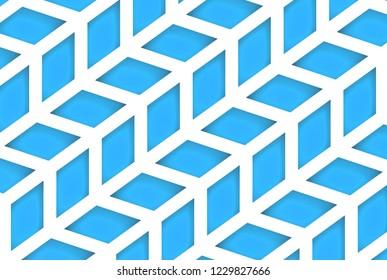 3d rendering. modern diagonal blue trapezoid geometric pattern wall background.