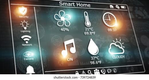 3D rendering modern digital smart house interface on dark background