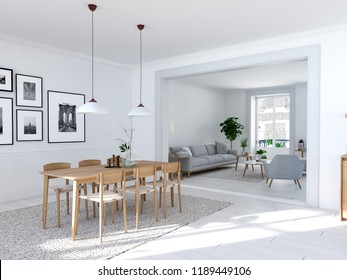 3D rendering of modern dining room in a loft.