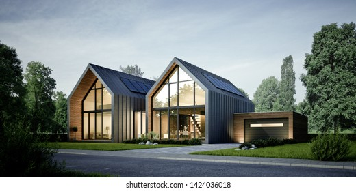 3D rendering of a modern duplex house in the evening