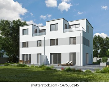 3d rendering of modern duplex house