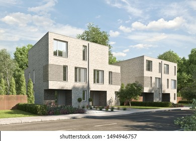 3d rendering of modern duplex houses with a brick facade