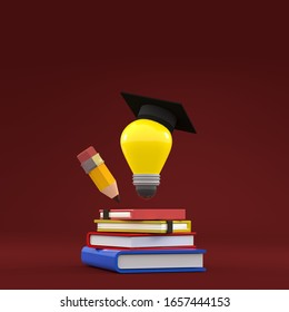 3D rendering Modern education concept book stack success background red