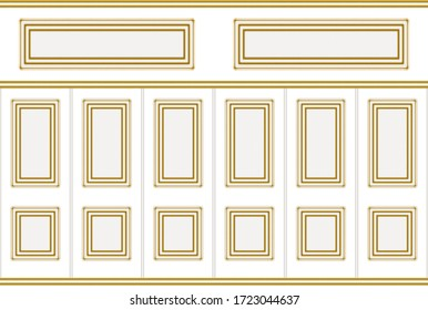 3d rendering. modern gold square classical frame pattern design on white wood vintage wall background.