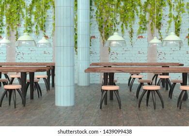 3D rendering of a modern hipster restaurant with rustic wooden tables and ivy hanging from the walls
