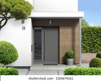 3D-Darstellung eines modernen Hauseingangs mit Haustür
