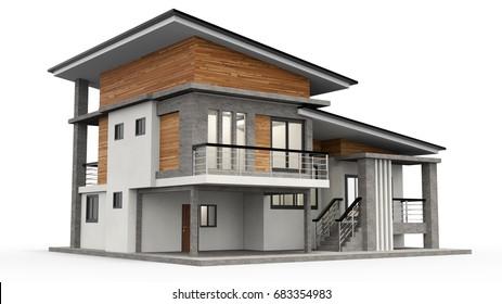 3d rendering modern house