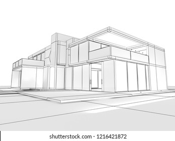 3D rendering of a modern house at the draft stage