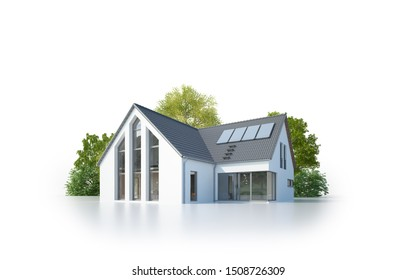 3d rendering of a modern house isolated