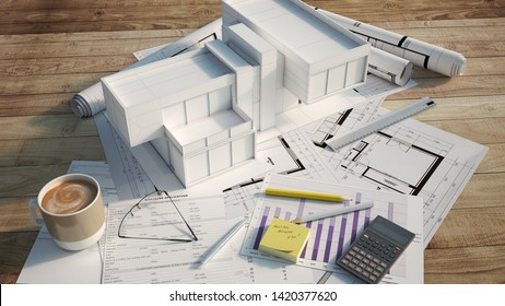 3D rendering of a modern house mock up on top of blueprints, mortgage application form, and other documents,calculator, etc.