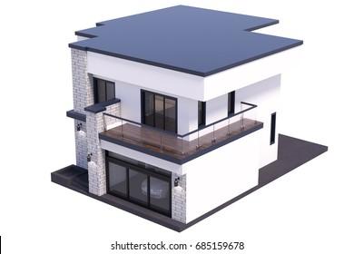 3d rendering modern house on white background