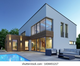 3d rendering of a modern house with pool