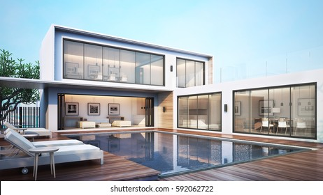 3D Rendering Modern House Pool Villa / Pool View Daybed on the floor deck wood with livingroom Kitchen and Dining room