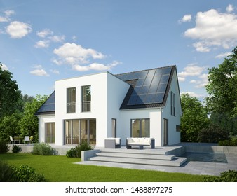 3d rendering of a modern house with solar